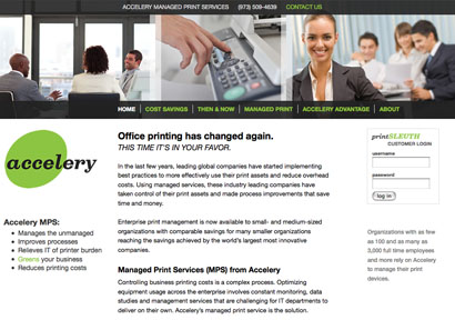 Accelery website, home page