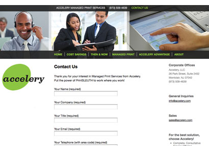 Accelery website contact page