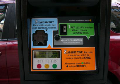 parking meter interface design, detail of middle panel