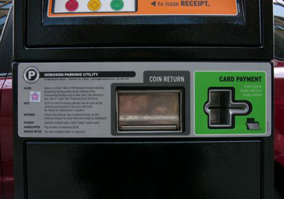 parking meter interface design, detail of lower panel