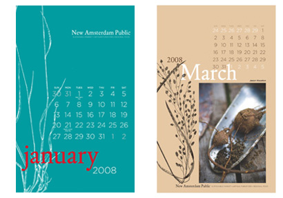 New Amsterdam calendar pages