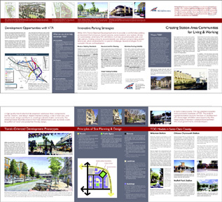 Double-sided, tri-fold brochure about VTA's TOD program